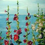 Lakeside Hollyhocks Art Print