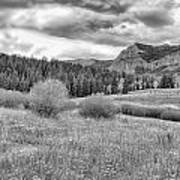 Lamar Valley Looking Towards Specimen Ridge Bw- Yellowstone Art Print