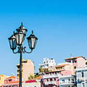 Lamp In Agios Nikolaos Art Print by Luis Alvarenga