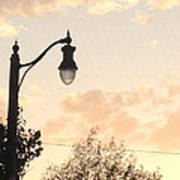 Lamp Post And Cotton Candy Sunset Art Print