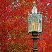 Lamp Post In Fall Art Print
