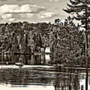Land Of Lakes Sepia Art Print