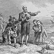 Landing Of The Pilgrims, 1620, Engraved By A. Bollett, From Harpers Monthly, 1857 Engraving B&w Art Print