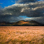 Landscape Of Windy Wheat Field In Front Of Mountain Range With D Art Print by Matthew Gibson