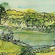 Landscape Pen & Ink With Wc On Paper Art Print