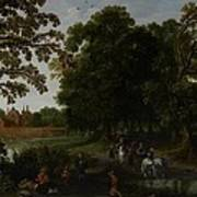 Landscape With A Courtly Procession Before Abtspoel Castle Art Print