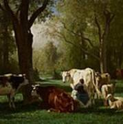 Landscape With Cattle And Sheep Art Print