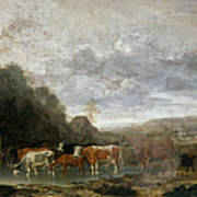 Landscape With Cattle Art Print