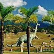 Landscape With Dinosaurs Art Print