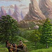 Landscape With Man Driving Horse And Cart Art Print by Martin Davey