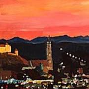 Landshut At Dawn With Alps Art Print