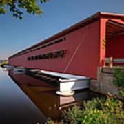 Langley Covered Bridge Michigan Art Print by Steve Gadomski