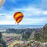 Lanscape Of Mountain And Balloon Art Print