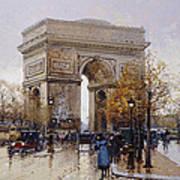 L'arc De Triomphe Paris Art Print by Eugene Galien-Laloue