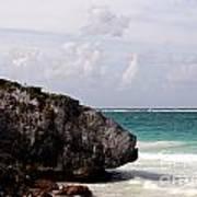 Large Boulder On A Caribbean Beach Art Print