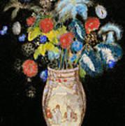 Large Bouquet On A Black Background Print by Odilon Redon