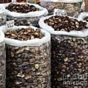 Large Sacks With Dried Mushrooms Art Print