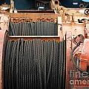 Large Winch With Steel Cable Art Print