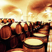 Large Winery Cellar Filled With Oak Art Print
