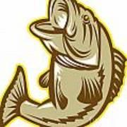 Largemouth Bass Fish Jumping Retro Art Print by Aloysius Patrimonio