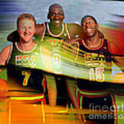 Larry Bird Michael Jordon And Magic Johnson Art Print by Marvin Blaine