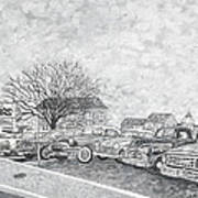 Larry Hill Vintage Car Lot Art Print