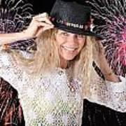 Las Vegas Fireworks Party Woman Art Print