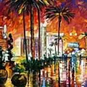 Las Vegas - Palette Knife Oil Painting On Canvas By Leonid Afremov Art Print
