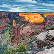Last Light On Spider Rock Canyon De Chelly Navajo Nation Chinle Arizona Art Print