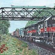 Last Train Under The Bridge Art Print by Cliff Wilson