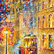 Last Trolley - Palette Knife Oil Painting On Canvas By Leonid Afremov Art Print