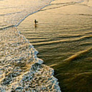 Last Wave - Lone Surfer Waiting For The Perfect Wave In Huntington Beach Art Print