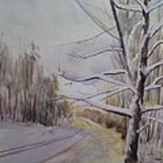 Last Winter Sunset Snow Scene Art Print