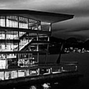 late evening at the Vancouver convention centre west building on burrard inlet BC Canada Art Print by Joe Fox