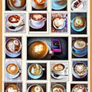 Latte Art Collage Art Print