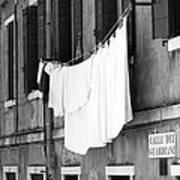 Laundry IIi Black And White Venice Italy Art Print