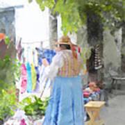 Laundry Line Under The Grape Arbor Art Print