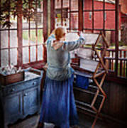 Laundry - Miss Lady Blue  Art Print by Mike Savad