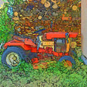 Lawn Tractor And Wood Pile Art Print