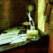 Lawyer - Desk With Quills And Papers Print by Susan Savad