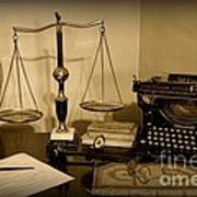 Lawyer - The Lawyer's Desk In Black And White Art Print