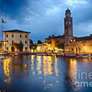 Lazise Harbor Night Scenic Art Print