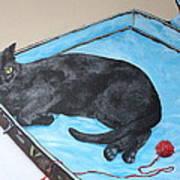 Lazy Black Cat Art Print