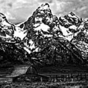 Le Grande Teton And Barn Art Print
