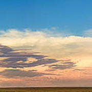 Leading Edge Storm Front And Moon Panorama Art Print