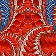 Leaf Pattern In Red Art Print