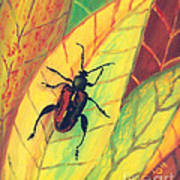 Leaf Surfer Art Print by Anna Skaradzinska