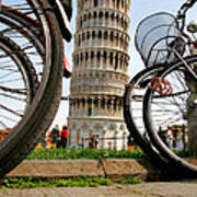 Leaning Bicycles Of Pisa Art Print