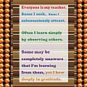 Learning Observation Teacher Student Gratitude Background Designs  And Color Tones N Color Shades Av Art Print