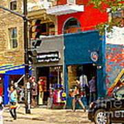 Leather Garments Cuir Monde Mont Royal Scala Pour Hommes Busy Montreal City Scene Carole Spandau  Art Print